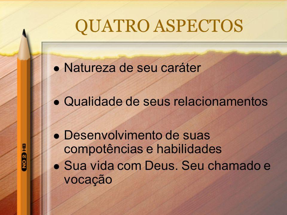 QUATRO ASPECTOS Natureza de seu caráter Qualidade de seus relacionamentos Desenvolvimento de suas compotências e habilidades Sua vida com Deus. Seu ch