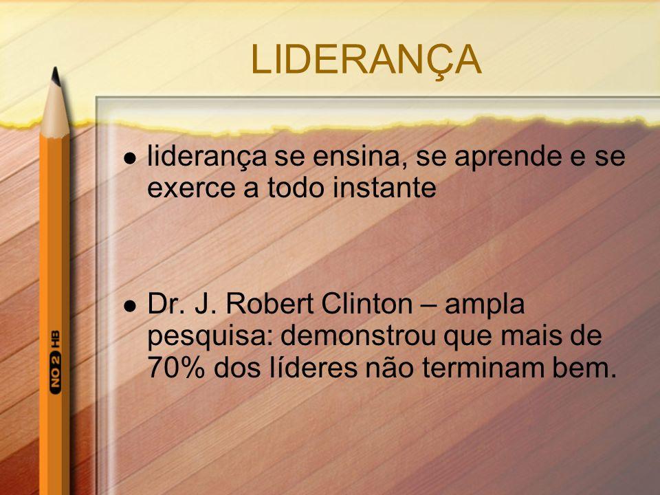 LIDERANÇA liderança se ensina, se aprende e se exerce a todo instante Dr. J. Robert Clinton – ampla pesquisa: demonstrou que mais de 70% dos líderes n