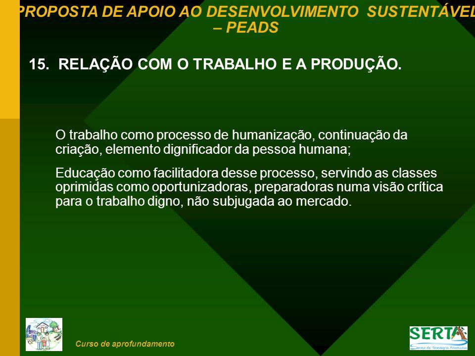 PROPOSTA DE APOIO AO DESENVOLVIMENTO SUSTENTÁVEL – PEADS Curso de aprofundamento O trabalho como processo de humanização, continuação da criação, elem