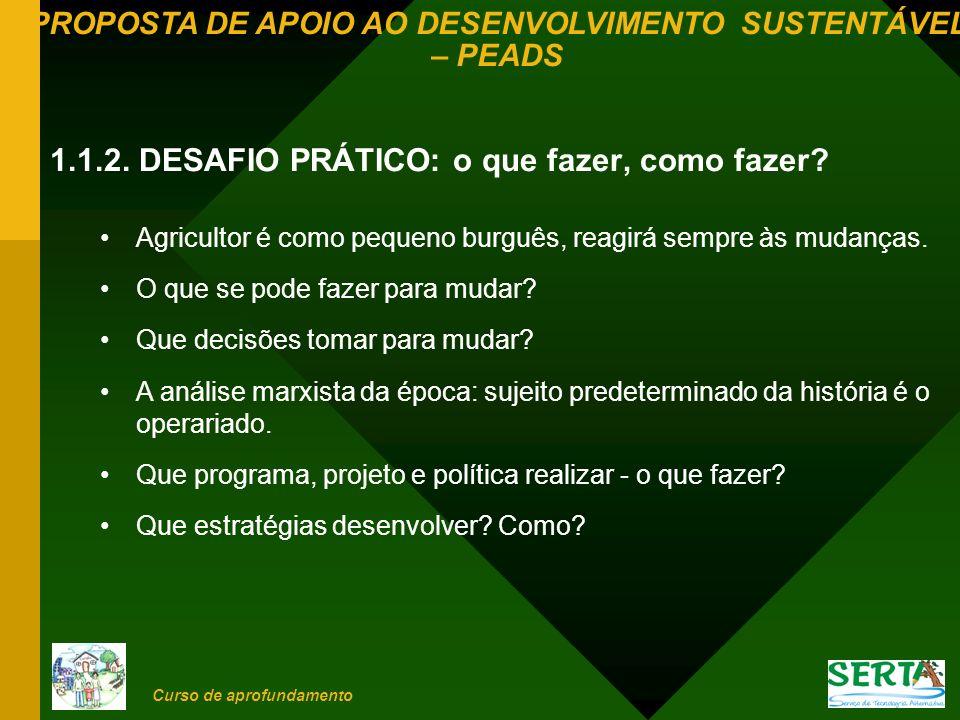 PROPOSTA DE APOIO AO DESENVOLVIMENTO SUSTENTÁVEL – PEADS Curso de aprofundamento 4.