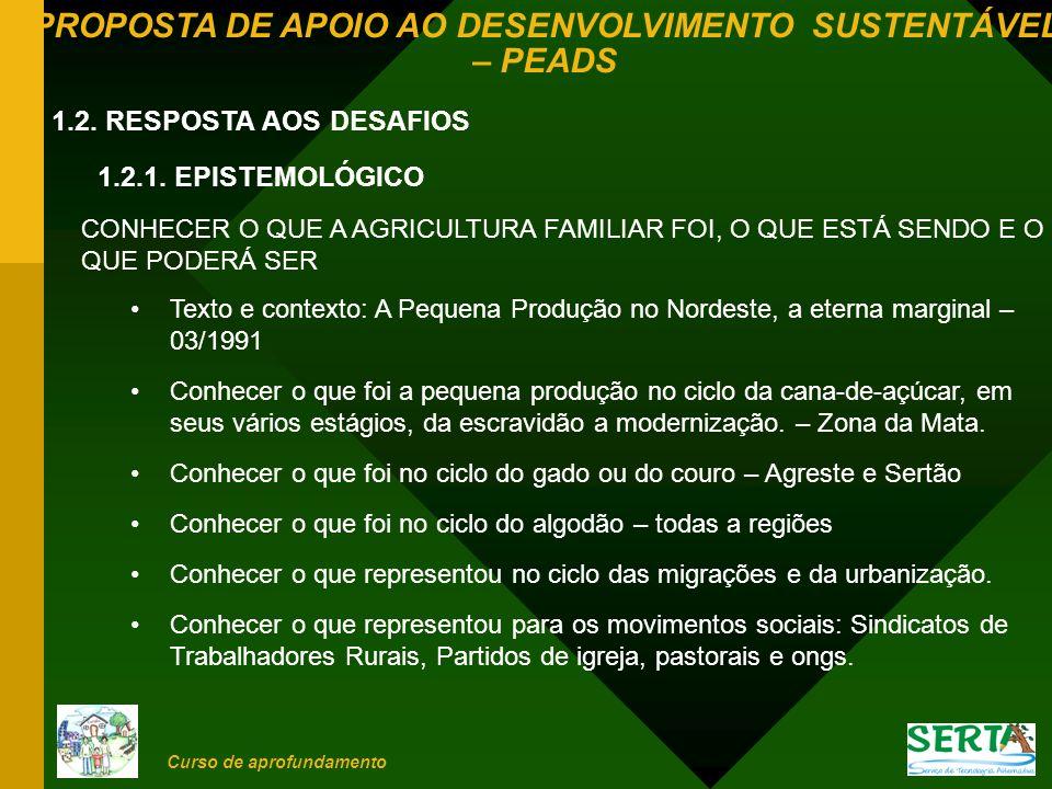 PROPOSTA DE APOIO AO DESENVOLVIMENTO SUSTENTÁVEL – PEADS Curso de aprofundamento 1.2.2.