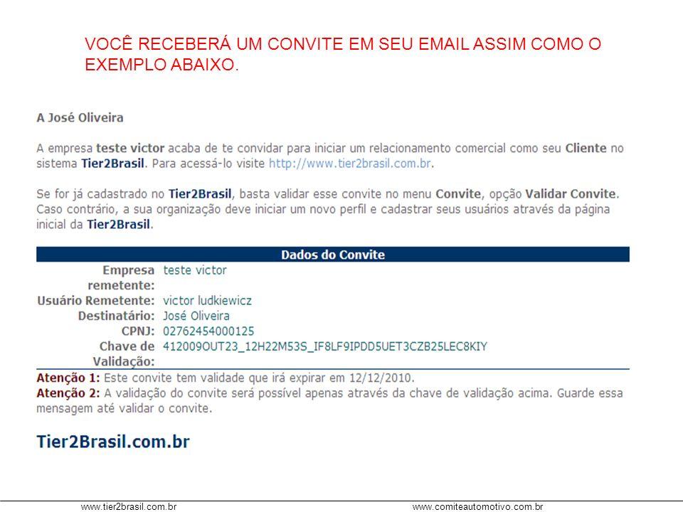 www.tier2brasil.com.brwww.comiteautomotivo.com.br NO PERFIL DE ADMINISTRADOR, APÓS O CONVITE SER VALIDADO, APARECERÁ NO MENU MEU PERFIL (DE ACORDO COMO TIPO DE RELAÇÃO DO CONVITE) O NOME DA EMPRESA COMO SEU FORNECEDOR OU CLIENTE