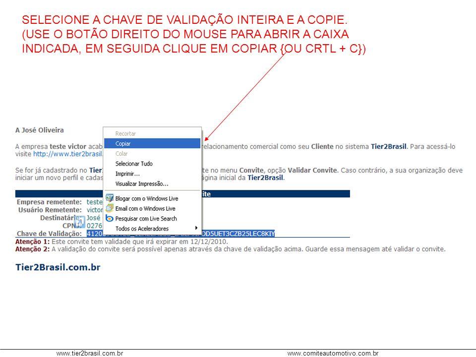 www.tier2brasil.com.brwww.comiteautomotivo.com.br SELECIONE A CHAVE DE VALIDAÇÃO INTEIRA E A COPIE. (USE O BOTÃO DIREITO DO MOUSE PARA ABRIR A CAIXA I
