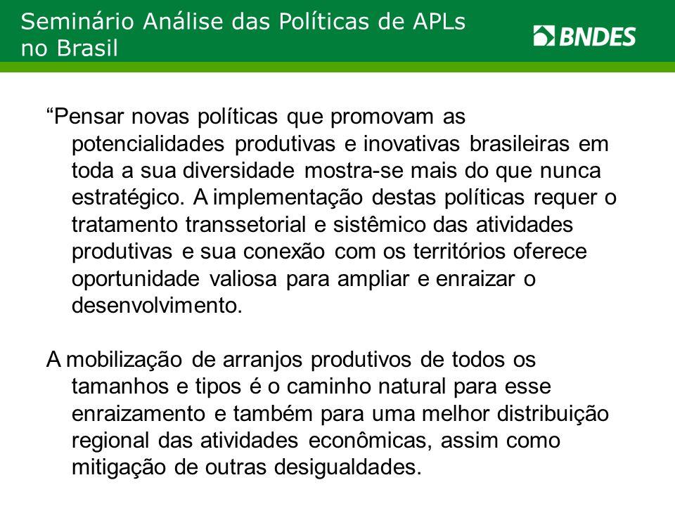 Seminário Análise das Políticas de APLs no Brasil Pensar novas políticas que promovam as potencialidades produtivas e inovativas brasileiras em toda a