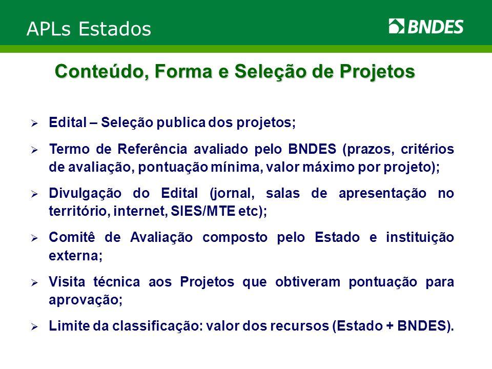 Conteúdo, Forma e Seleção de Projetos Edital – Seleção publica dos projetos; Termo de Referência avaliado pelo BNDES (prazos, critérios de avaliação,