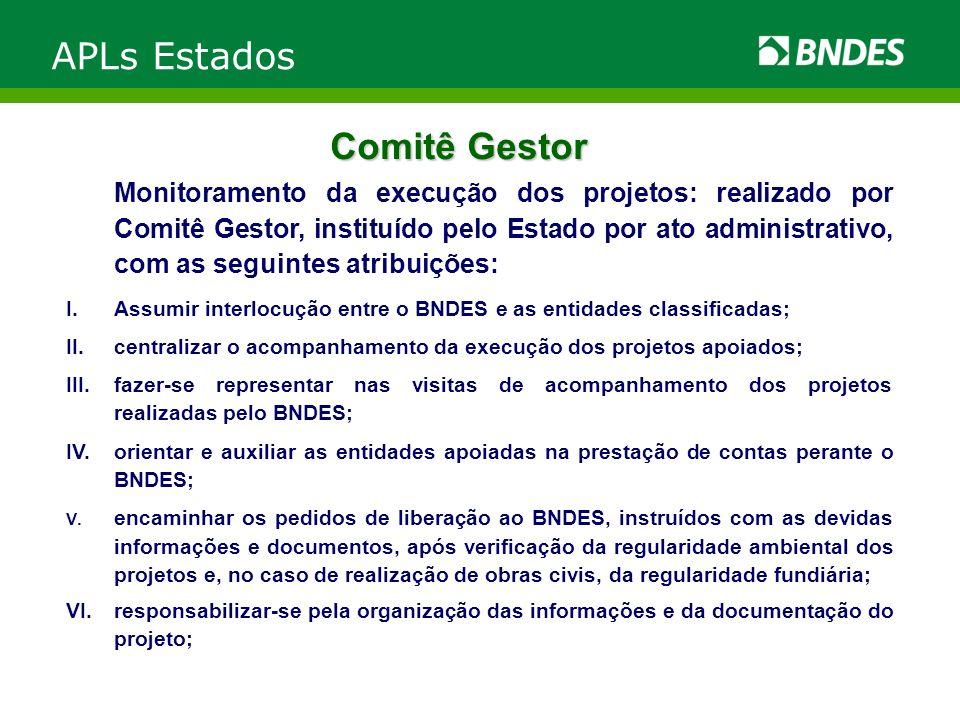 Comitê Gestor Monitoramento da execução dos projetos: realizado por Comitê Gestor, instituído pelo Estado por ato administrativo, com as seguintes atr
