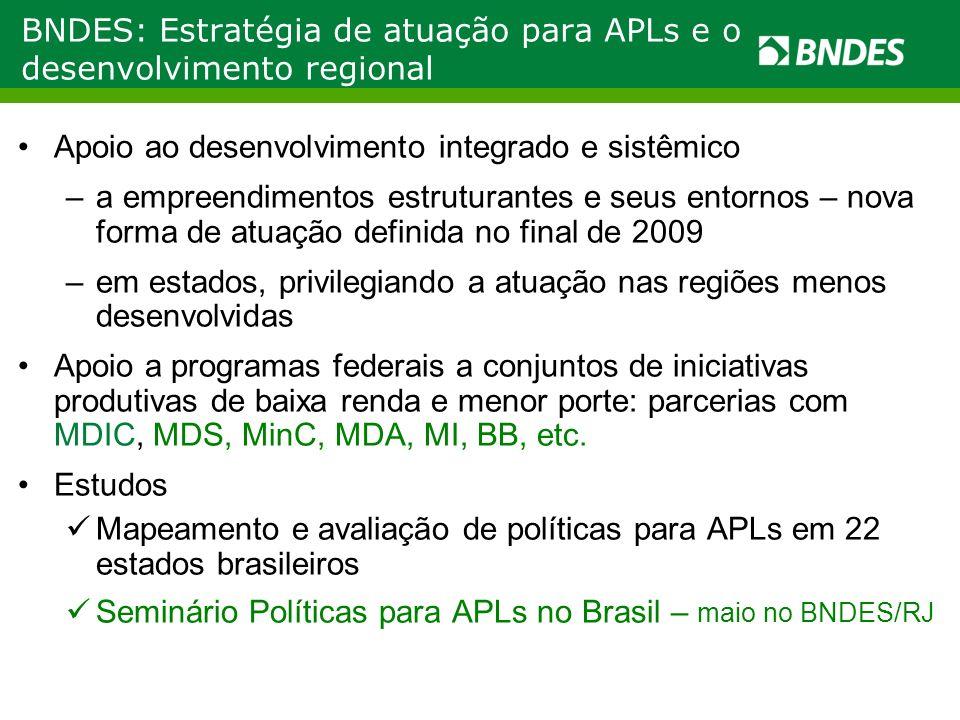 Políticas para APLs no Brasil: como avançar A avaliação das políticas para APLs financiada pelo BNDES envolveu mais de 200 pesquisadores brasileiros Significativa contribuição para o aperfeiçoamento das políticas para APLs e para o desenvolvimento produtivo e inovativo nos processos de planejamento públicos e privados, em nível municipal, estadual e federal Resultados da pesquisa em: http://www.politicaapls.redesist.ie.ufrj.br/