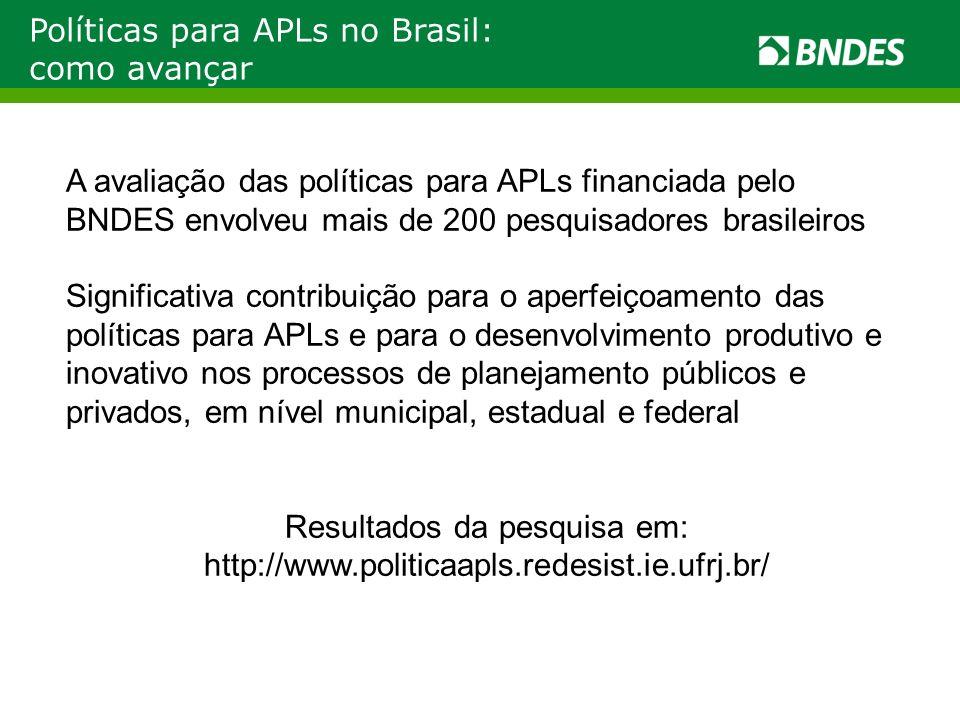 Políticas para APLs no Brasil: como avançar A avaliação das políticas para APLs financiada pelo BNDES envolveu mais de 200 pesquisadores brasileiros S