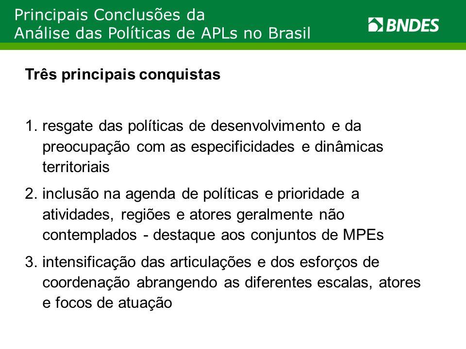 Principais Conclusões da Análise das Políticas de APLs no Brasil Três principais conquistas 1.resgate das políticas de desenvolvimento e da preocupaçã