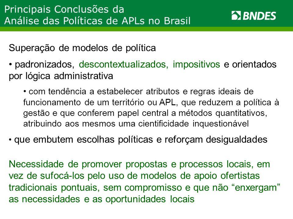 Principais Conclusões da Análise das Políticas de APLs no Brasil Superação de modelos de política padronizados, descontextualizados, impositivos e ori