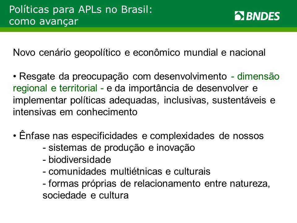 Políticas para APLs no Brasil: como avançar Novo cenário geopolítico e econômico mundial e nacional Resgate da preocupação com desenvolvimento - dimen