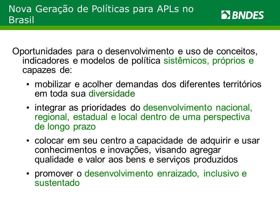 Nova Geração de Políticas para APLs no Brasil Oportunidades para o desenvolvimento e uso de conceitos, indicadores e modelos de política sistêmicos, p