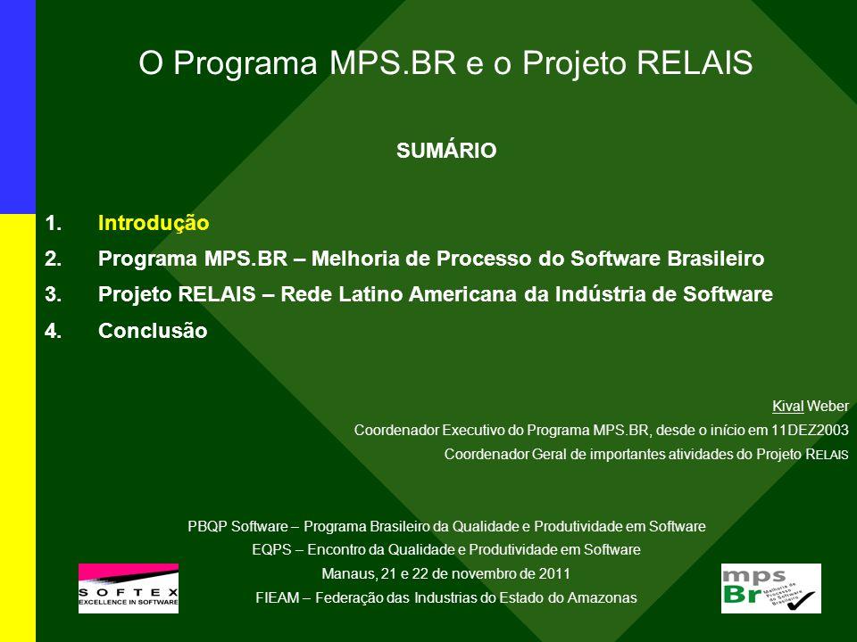 O Programa MPS.BR e o Projeto RELAIS SUMÁRIO 1.Introdução 2.Programa MPS.BR – Melhoria de Processo do Software Brasileiro 3.Projeto RELAIS – Rede Latino Americana da Indústria de Software 4.Conclusão Kival Weber Coordenador Executivo do Programa MPS.BR, desde o início em 11DEZ2003 Coordenador Geral de importantes atividades do Projeto R ELAIS PBQP Software – Programa Brasileiro da Qualidade e Produtividade em Software EQPS – Encontro da Qualidade e Produtividade em Software Manaus, 21 e 22 de novembro de 2011 FIEAM – Federação das Industrias do Estado do Amazonas l