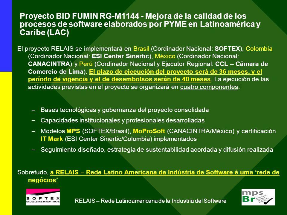 Proyecto BID FUMIN RG-M1144 - Mejora de la calidad de los procesos de software elaborados por PYME en Latinoamérica y Caribe (LAC) El proyecto RELAIS se implementará en Brasil (Cordinador Nacional: SOFTEX), Colombia (Cordinador Nacional: ESI Center Sinertic), México (Cordinador Nacional: CANACINTRA) y Perú (Cordinador Nacional y Ejecutor Regional: CCL – Cámara de Comercio de Lima).