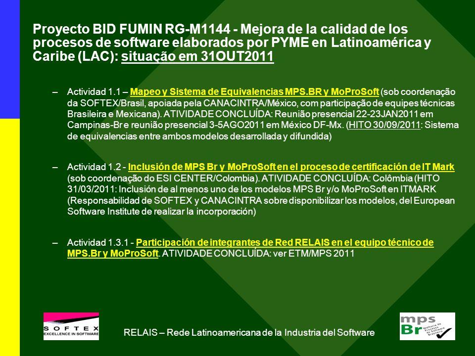 Proyecto BID FUMIN RG-M1144 - Mejora de la calidad de los procesos de software elaborados por PYME en Latinoamérica y Caribe (LAC): situação em 31OUT2011 –Actividad 1.1 – Mapeo y Sistema de Equivalencias MPS.BR y MoProSoft (sob coordenação da SOFTEX/Brasil, apoiada pela CANACINTRA/México, com participação de equipes técnicas Brasileira e Mexicana).