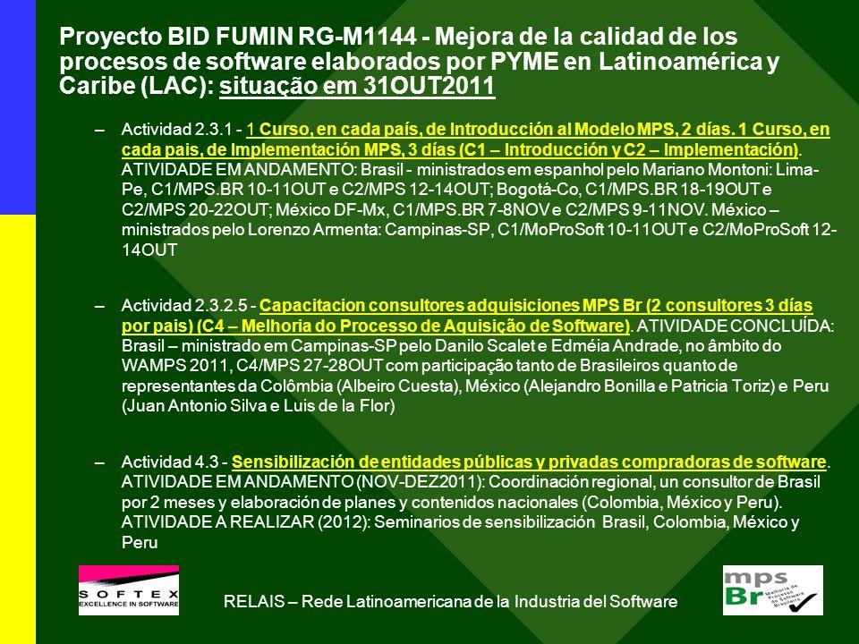 Proyecto BID FUMIN RG-M1144 - Mejora de la calidad de los procesos de software elaborados por PYME en Latinoamérica y Caribe (LAC): situação em 31OUT2011 –Actividad 2.3.1 - 1 Curso, en cada país, de Introducción al Modelo MPS, 2 días.