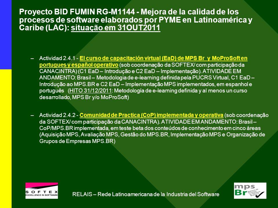 Proyecto BID FUMIN RG-M1144 - Mejora de la calidad de los procesos de software elaborados por PYME en Latinoamérica y Caribe (LAC): situação em 31OUT2011 –Actividad 2.4.1 - El curso de capacitación virtual (EaD) de MPS Br y MoProSoft en portugues y español operativo (sob coordenação da SOFTEX/ com participação da CANACINTRA) (C1 EaD – Introdução e C2 EaD – Implementação).