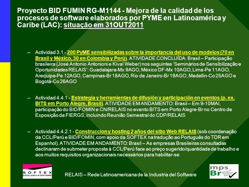 Proyecto BID FUMIN RG-M1144 - Mejora de la calidad de los procesos de software elaborados por PYME en Latinoamérica y Caribe (LAC): situação em 31OUT2011 –Actividad 3.1 - 200 PyME sensibilizadas sobre la importancia del uso de modelos (70 en Brasil y México, 30 en Colombia y Perú).