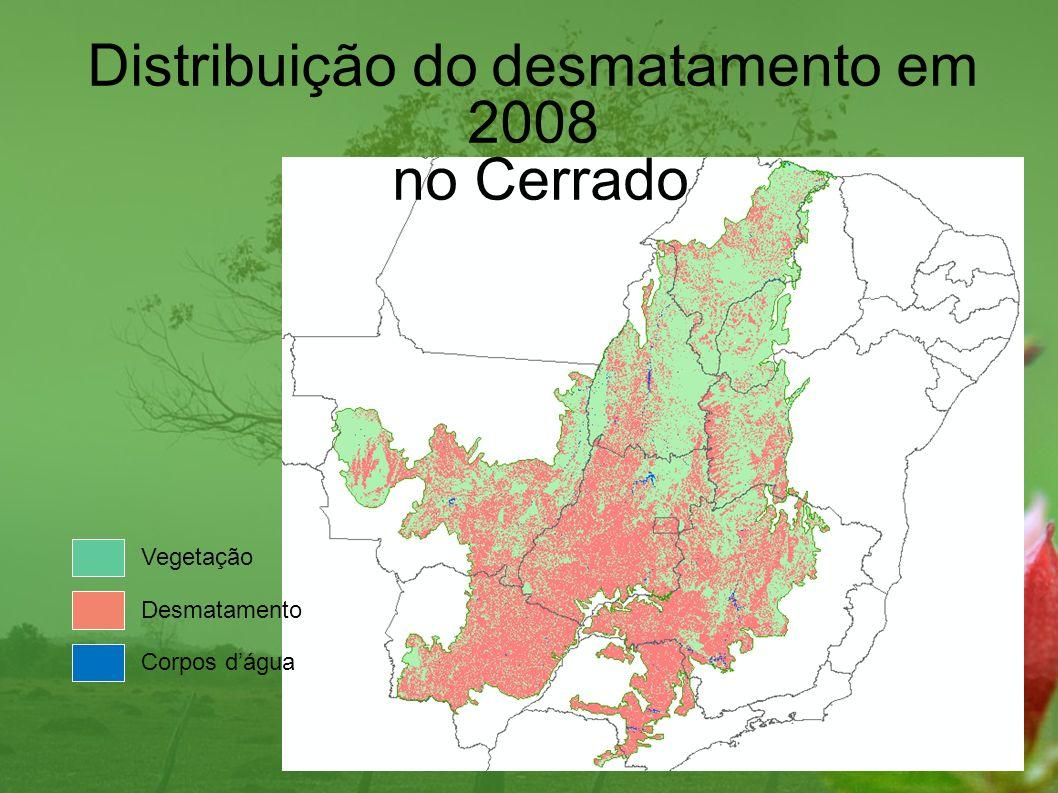 2002 (%)2008 (%) Áreas desmatadas41,948,2 Vegetação remanescente57,551,2 Corpos dágua0,6 Desmatamento no bioma Cerrado entre 2002 e 2008, tendo como referência a área total do bioma - 2.039.386 km².
