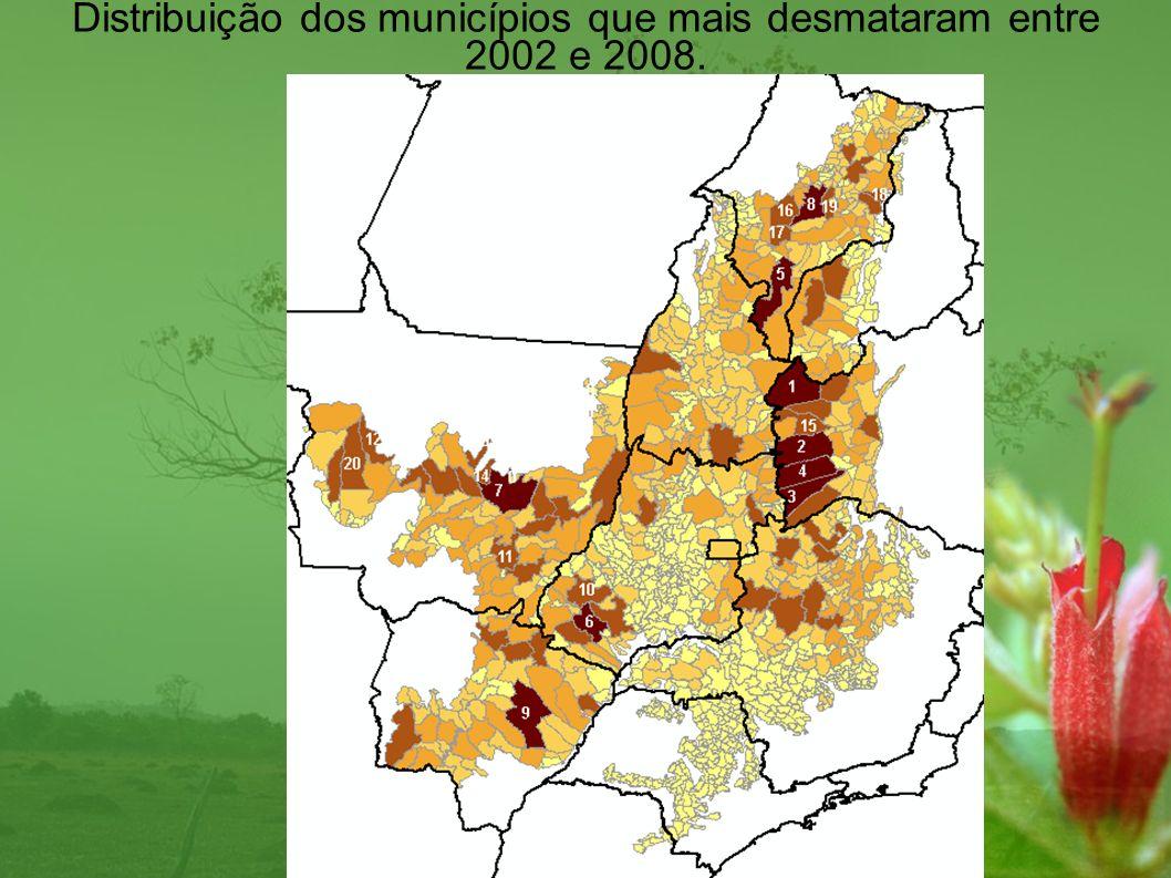 NºMunicípioUF Cerrado (km²) Desmatamento (km²) 1Formosa do Rio PretoBA16186,062040,07 2São DesidérioBA14821,671571,40 3JaborandiBA9474,111505,79 4CorrentinaBA12146,711376,05 5BalsasMA13144,331337,08 6JataíGO7173,571231,41 7ParanatingaMT16534,111110,24 8Barra do CordaMA7870,921028,52 9Ribas do Rio PardoMS17306,421003,43 10CaiapôniaGO8650,19828,09 11PoxoréoMT6922,90824,00 12BrasnorteMT6714,03821,31 13ParnaramaMA3067,19769,52 14Nova UbiratãMT5077,99766,07 15BarreirasBA7897,58763,18 16GrajaúMA7030,57751,95 17 Formosa da Serra NegraMA3941,39741,13 18MatõesMA1759,83731,48 19TuntumMA3572,22719,44 20SapezalMT13595,51699,85 Desmatamento por Município em km², ordem decrescente de menor preservação do Cerrado