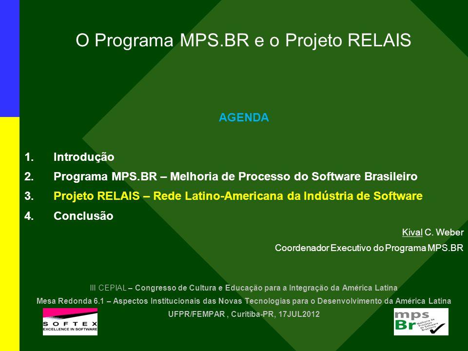 O Programa MPS.BR e o Projeto RELAIS AGENDA 1.Introdução 2.Programa MPS.BR – Melhoria de Processo do Software Brasileiro 3.Projeto RELAIS – Rede Latin
