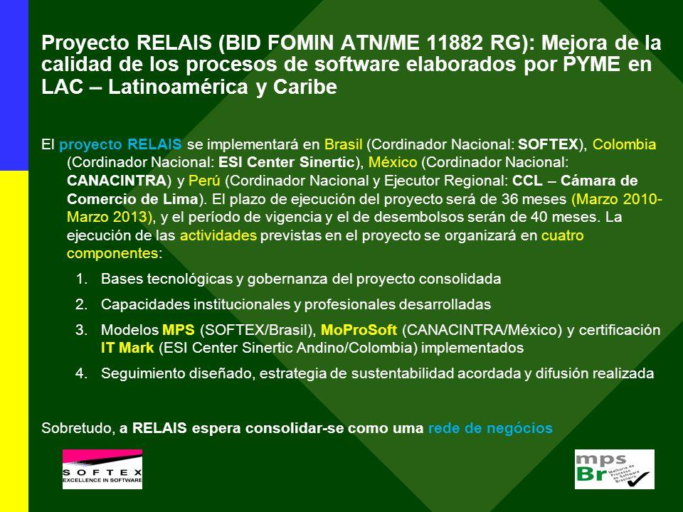 El proyecto RELAIS se implementará en Brasil (Cordinador Nacional: SOFTEX), Colombia (Cordinador Nacional: ESI Center Sinertic), México (Cordinador Na