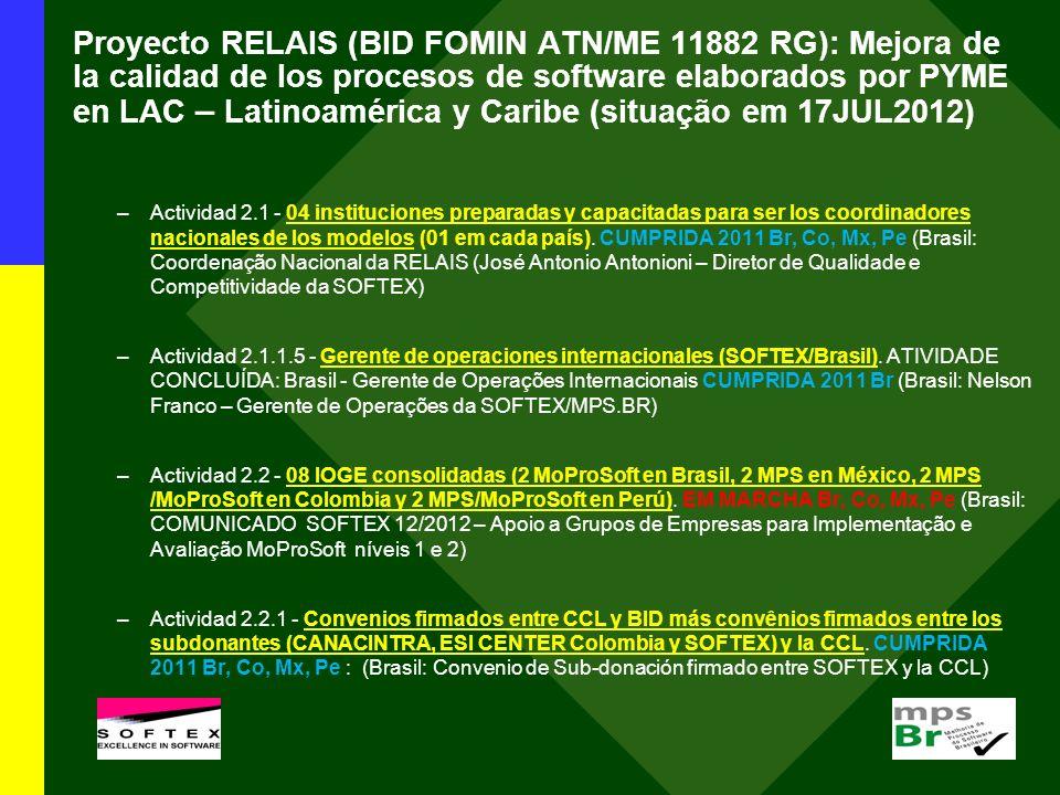 Proyecto RELAIS (BID FOMIN ATN/ME 11882 RG): Mejora de la calidad de los procesos de software elaborados por PYME en LAC – Latinoamérica y Caribe (sit