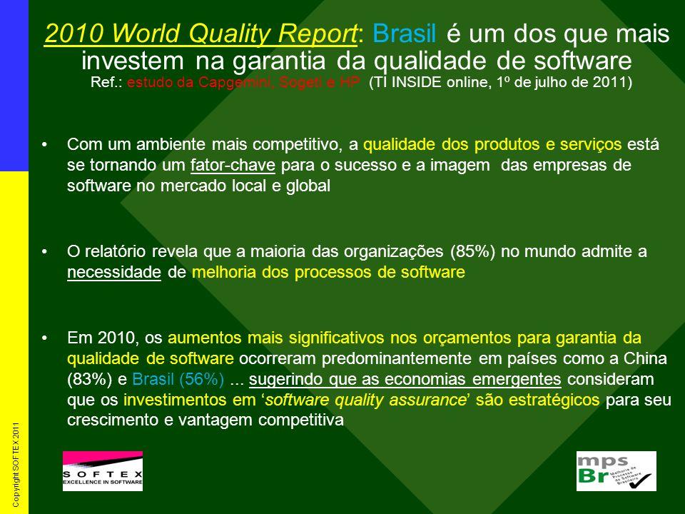 2010 World Quality Report: Brasil é um dos que mais investem na garantia da qualidade de software Ref.: estudo da Capgemini, Sogeti e HP (TI INSIDE on