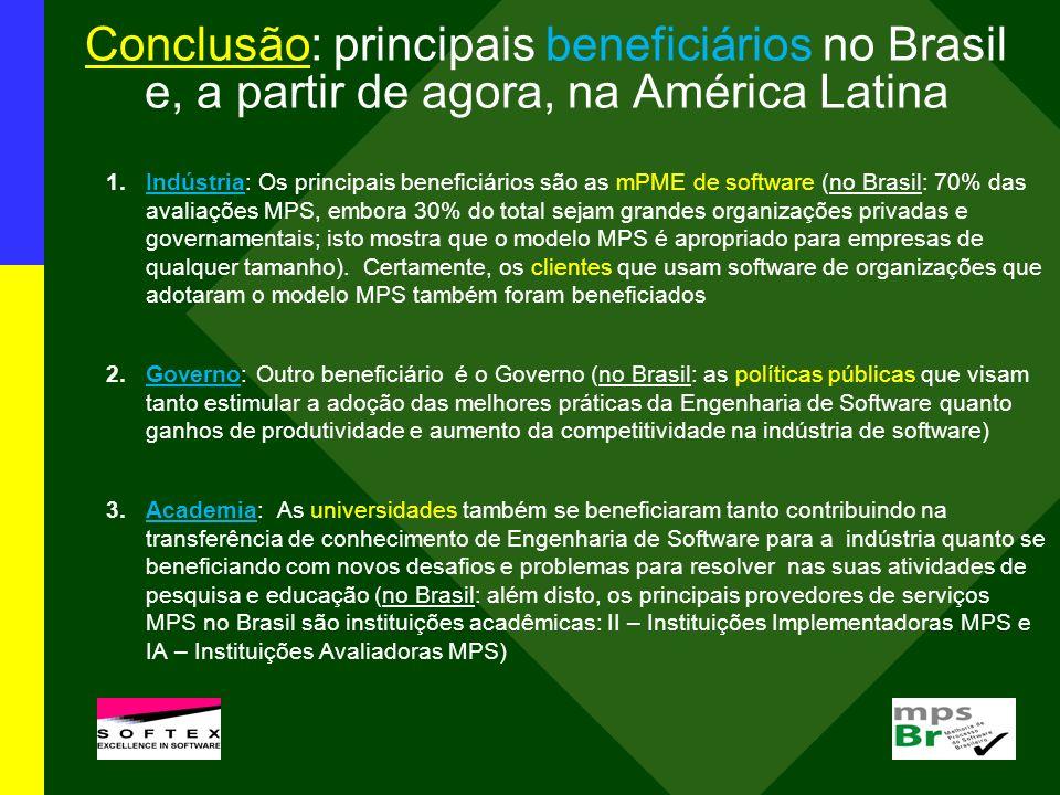 Conclusão: principais beneficiários no Brasil e, a partir de agora, na América Latina 1.Indústria: Os principais beneficiários são as mPME de software