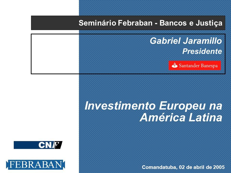. Comandatuba - Abril de 2005 8 Bancarização exige políticas pró-ativas - I Espanha: Crédito e taxa de juros real (1990-2005) 2005 t.juros = 0% Crédito/PIB = 121% 1990 t.juros = 8% Crédito/PIB = 84% 1999:EURO Crédito/PIB Taxa de juros real Fonte:FMI e Grupo Santander