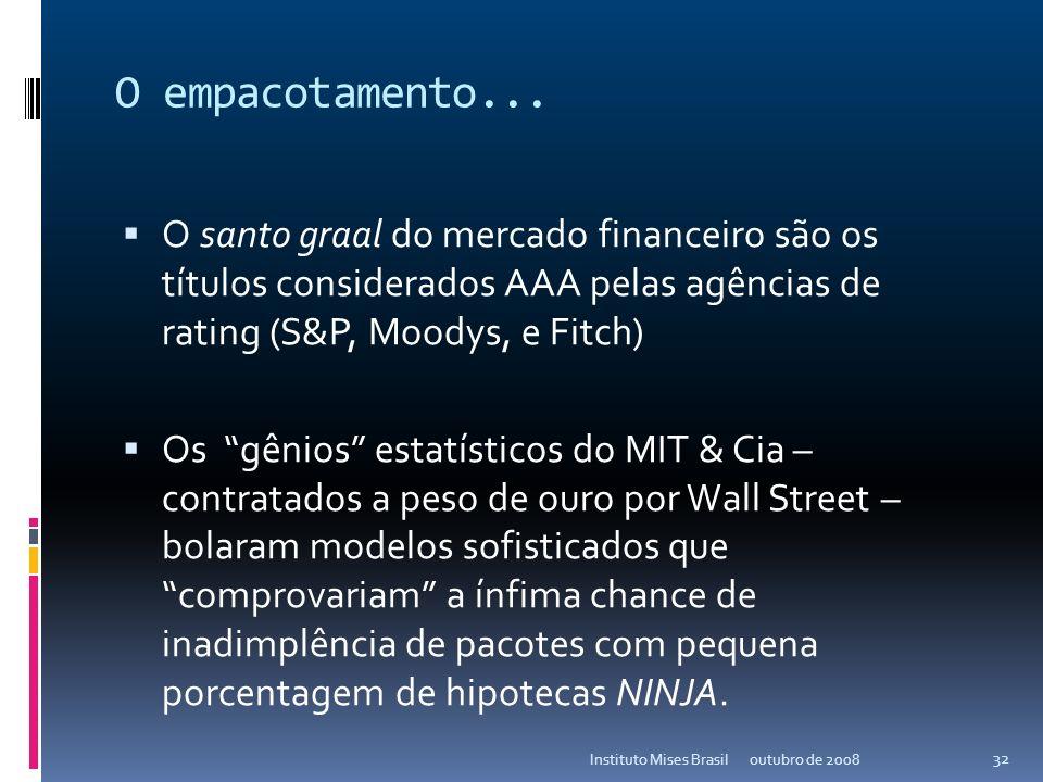 O empacotamento... Os empacotamentos de mortgages – os mortgage-backed securities do tipo CDO e CMOs – já existiam desde a década de 80, porém os volu