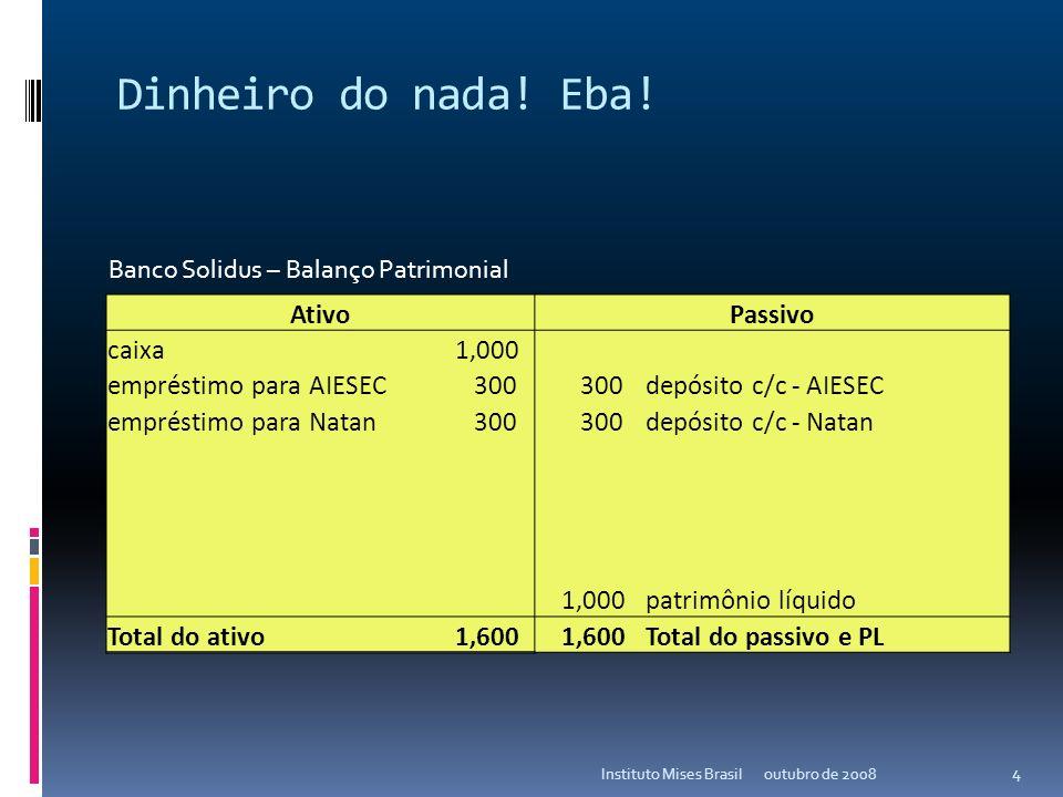 Como o Fed e os bancos criam dinheiro do nada? outubro de 2008Instituto Mises Brasil 3 AtivoPassivo caixa 1,000 patrimônio líquido Total do ativo 1,00