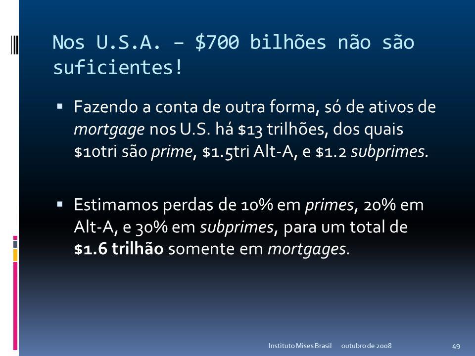O que vem por aí? Nos U.S.A. – $700 bilhões não são suficientes! O sistema bancário americano carrega cerca de US$18 trilhões de ativos (valor de face