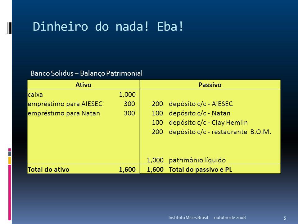 Dinheiro do nada! Eba! outubro de 2008Instituto Mises Brasil 4 AtivoPassivo caixa 1,000 empréstimo para AIESEC 300 depósito c/c - AIESEC empréstimo pa