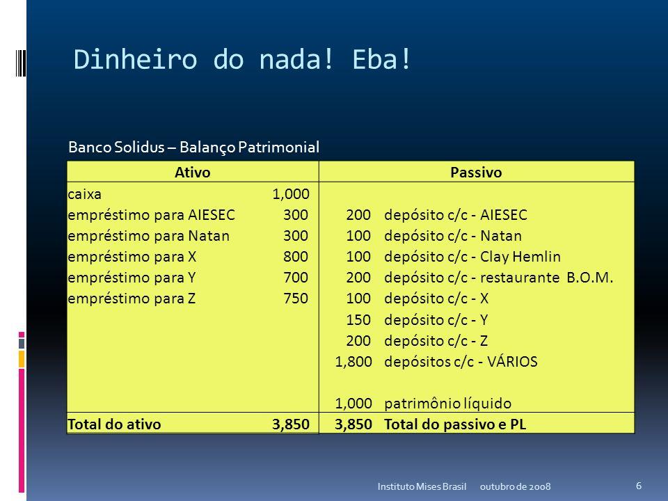 Dinheiro do nada! Eba! outubro de 2008Instituto Mises Brasil 5 AtivoPassivo caixa 1,000 empréstimo para AIESEC 300 200depósito c/c - AIESEC empréstimo