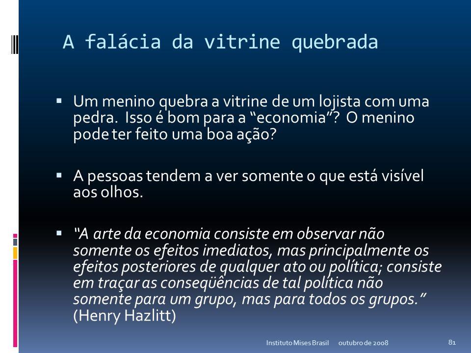 A falácia da vitrine quebrada O que se vê, e o que não se vê (Frédéric Bastiat) outubro de 2008Instituto Mises Brasil 80