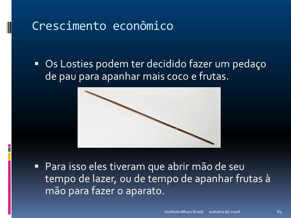 Crescimento econômico Os Losties não tinham nenhum capital quando chegaram à ilha. Por não possuir capital, eles consumiam bens – ex: água de coco e f