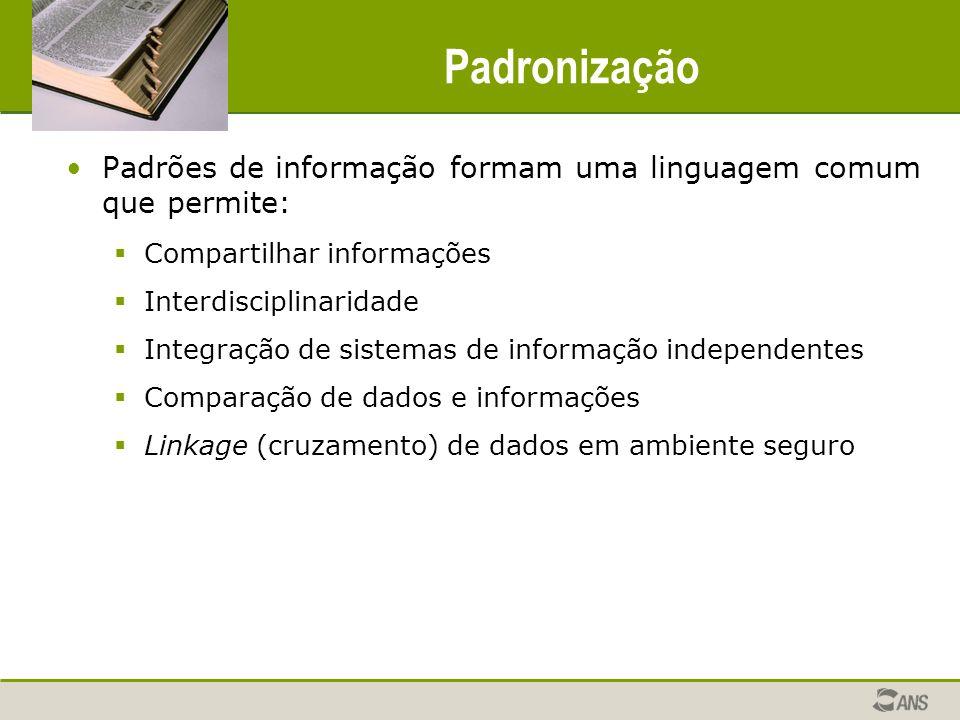 Padronização Padrões de informação formam uma linguagem comum que permite: Compartilhar informações Interdisciplinaridade Integração de sistemas de in