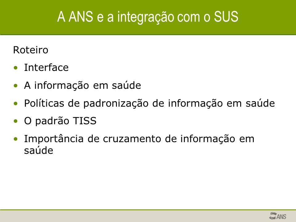 A ANS e a integração com o SUS Roteiro Interface A informação em saúde Políticas de padronização de informação em saúde O padrão TISS Importância de c