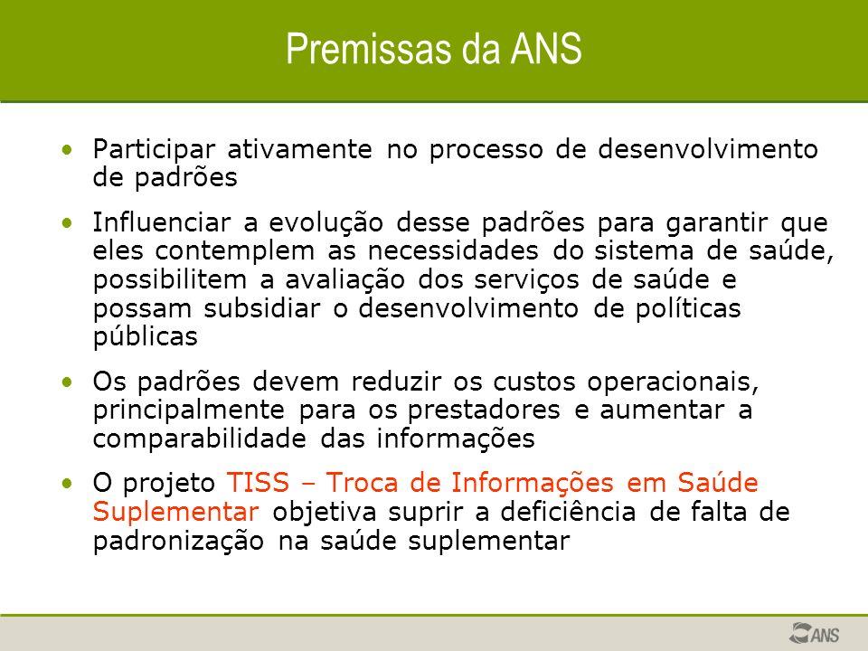 Premissas da ANS Participar ativamente no processo de desenvolvimento de padrões Influenciar a evolução desse padrões para garantir que eles contemple