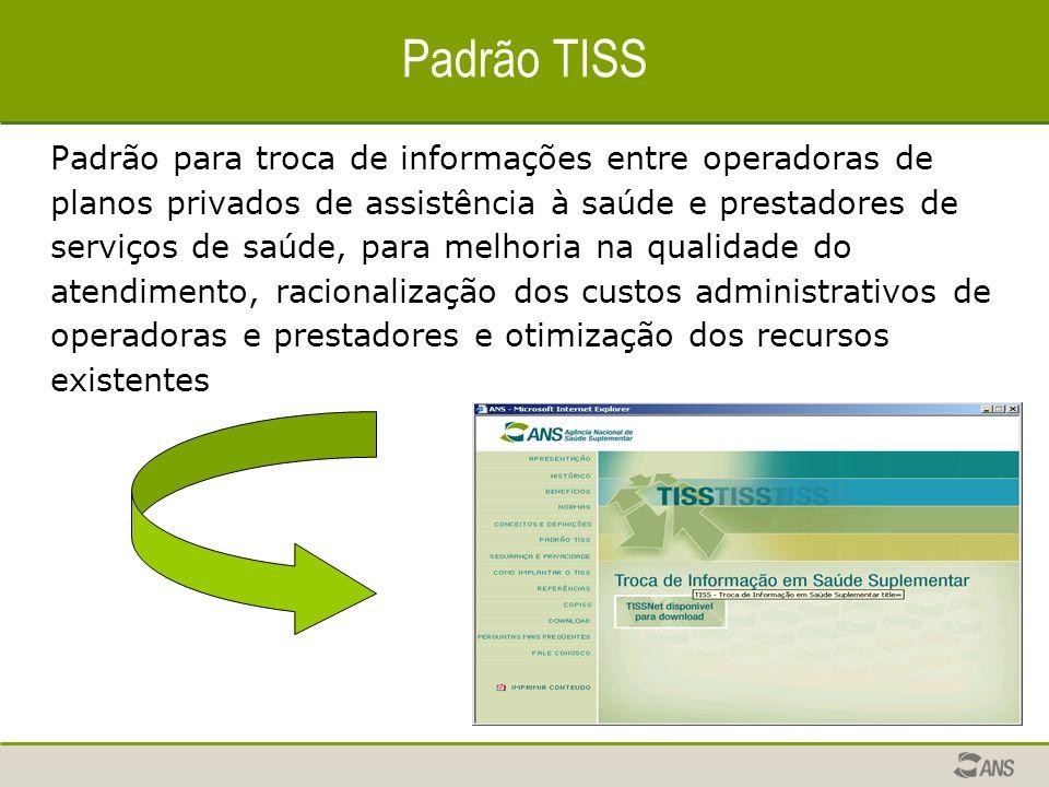 Padrão TISS Padrão para troca de informações entre operadoras de planos privados de assistência à saúde e prestadores de serviços de saúde, para melho