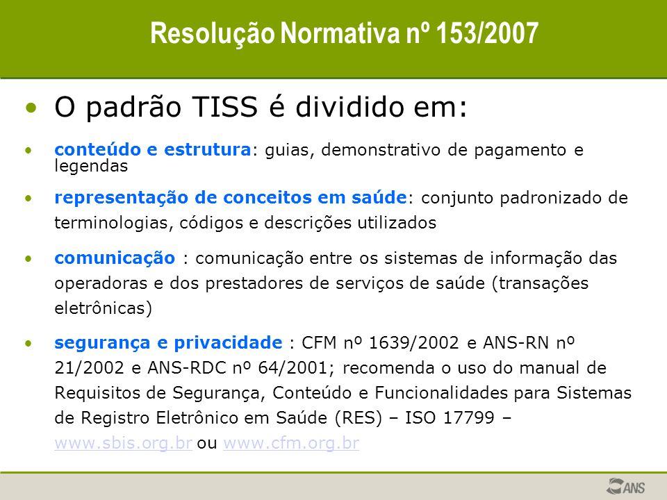 Resolução Normativa nº 153/2007 O padrão TISS é dividido em: conteúdo e estrutura: guias, demonstrativo de pagamento e legendas representação de conce