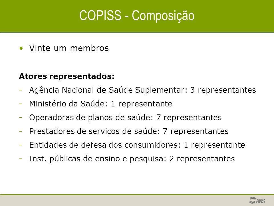 COPISS - Composição Vinte um membros Atores representados: -Agência Nacional de Saúde Suplementar: 3 representantes -Ministério da Saúde: 1 representa