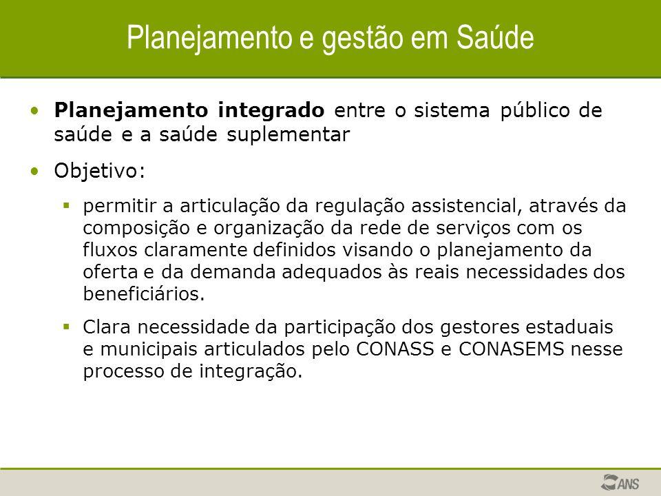 Planejamento integrado entre o sistema público de saúde e a saúde suplementar Objetivo: permitir a articulação da regulação assistencial, através da c