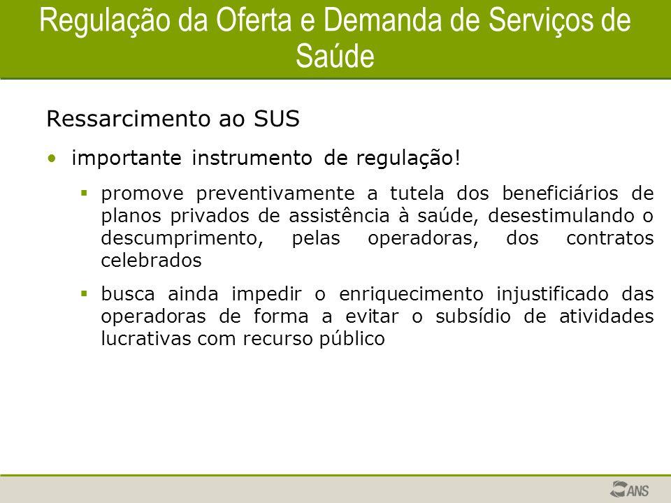 Regulação da Oferta e Demanda de Serviços de Saúde Ressarcimento ao SUS importante instrumento de regulação! promove preventivamente a tutela dos bene