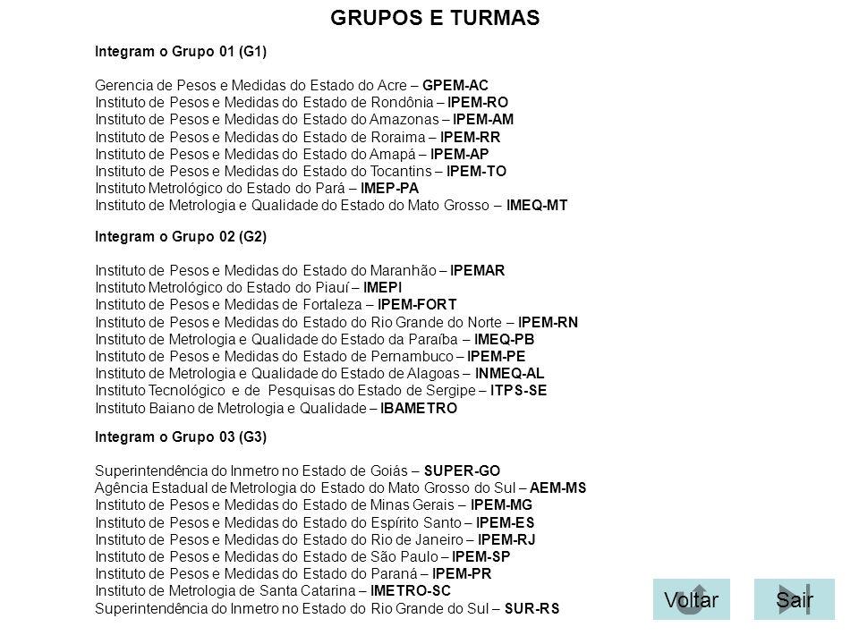 GRUPOS E TURMAS Integram o Grupo 01 (G1) Gerencia de Pesos e Medidas do Estado do Acre – GPEM-AC Instituto de Pesos e Medidas do Estado de Rondônia –