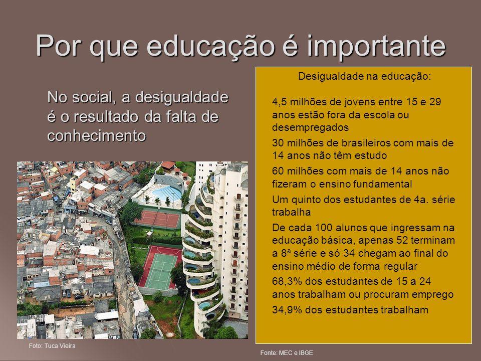 Por que educação é importante No social, a desigualdade é o resultado da falta de conhecimento Desigualdade na educação: 4,5 milhões de jovens entre 1