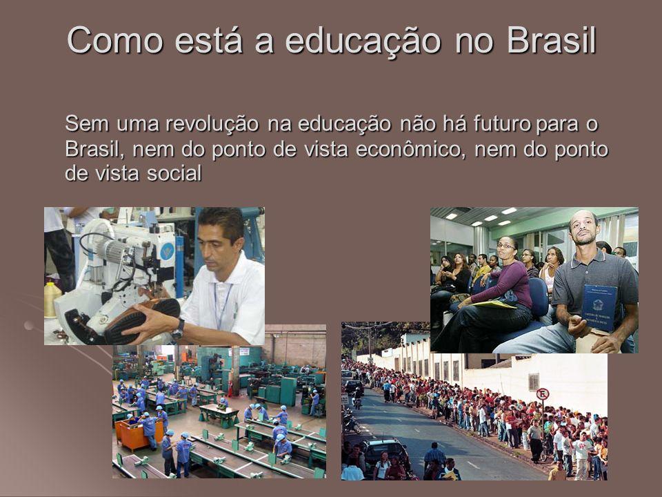 Como está a educação no Brasil Sem uma revolução na educação não há futuro para o Brasil, nem do ponto de vista econômico, nem do ponto de vista socia