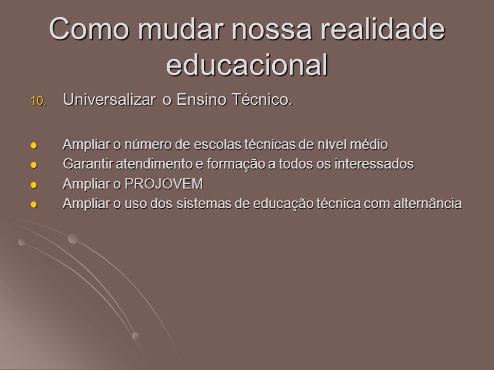 10. Universalizar o Ensino Técnico. Ampliar o número de escolas técnicas de nível médio Ampliar o número de escolas técnicas de nível médio Garantir a