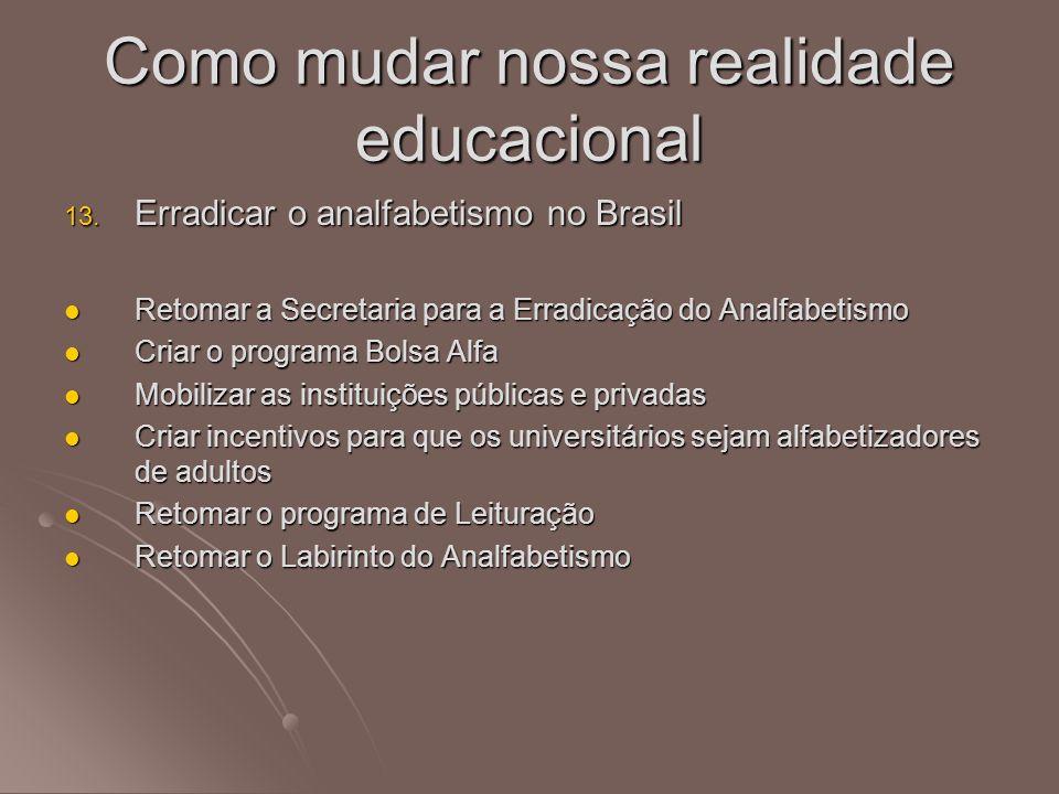 13. Erradicar o analfabetismo no Brasil Retomar a Secretaria para a Erradicação do Analfabetismo Retomar a Secretaria para a Erradicação do Analfabeti